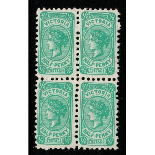 VICTORIA SG416b 1912 ½d BLUE-GREEN THIN READY GUMMED PAPER MNH BLOCK OF 4