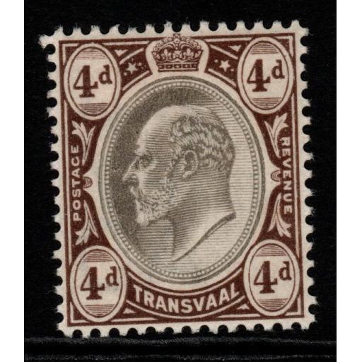 TRANSVAAL SG249 1902 4d BLACK & BROWN MTD MINT
