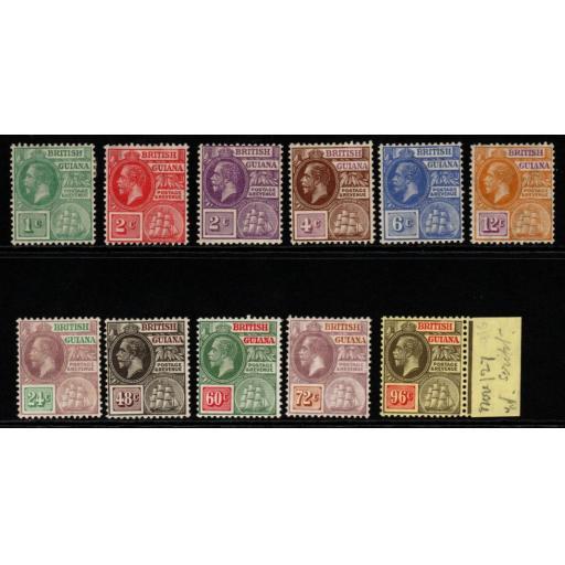 BRITISH GUIANA SG272/82 1921-7 DEFINITIVE SET MTD MINT